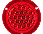 """Round LED Truck Trailer Light with Built In Reflectorized Flange - 5.5"""" LED Stop Turn Tail Light with 24 LEDs: Front View"""