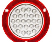 """Round LED Truck Trailer Back-Up Lights with Built In Reflectorized Flange - 5.5"""" LED Reverse Light with 24 LEDs: Front View"""