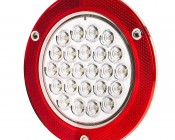 """Round LED Truck Trailer Back-Up Lights with Built In Reflectorized Flange - 5.5"""" LED Reverse Light with 24 LEDs"""