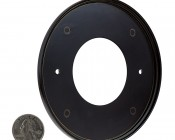 Face Plate for Round LED Step Light - Open Window or Louvered: Back View With Size Comparison