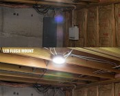 "5-1/2"" Flush Mount LED Ceiling Light - 80 Watt Equivalent - Dimmable: Fluorescent Coil vs LED Flush Mount"