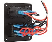 LED Rocker Switch Panel with Voltmeter and Dual USB Port - 3 Position Waterproof DC Distribution Panel - 12 VDC - 20 Amps