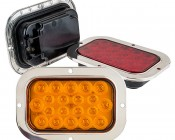 "Rectangle LED Truck Trailer Light with Built In Stainless Steel Flange - 6"" LED Stop Turn Tail Light with 20 LEDs: Available In Red, Amber, & White"