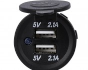 Dual USB Charging Port for LED Rocker Switch Panels - 4.2 Amps - 5V - USB Type A