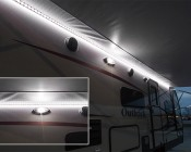 7440 LED Bulb - 27 SMD LED Tower - Wedge Retrofit:  Shown Installed In RV Flood Light Fixture.