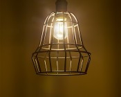 LED Vintage Light Bulb - S14 Shape - Signage Style LED Bulb with Filament LED: Installed in Decorative Cage Fixture
