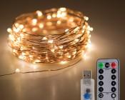USB LED Fairy Lights w/ Remote Control - Copper Wire - 32'