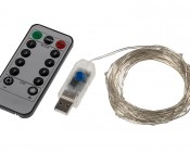USB LED Fairy Lights w/ Remote Control - Silver Wire - 32'