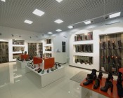 50W LED Panel Light Fixture - 2ft x 2ft: Shown Installed In Shoe Store In Cool White.
