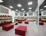 50W LED Panel Light Fixture - 4ft x 2ft: Shown Installed In Shoe Store In Cool White.