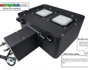 Modular LED Shoebox Area Light - 150W: Instructional Photo Gallery Of How To Install Mounting Arm On LED Shoebox Area Light.