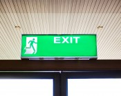 Single Color LED Module - Linear Sign Module w/ 3 SMD LEDs: Shown Illuminating Exit Sign.