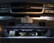 Single Color Vehicle Accent LED Module - Square Constant Current Module w/ 4 SMD LEDs: Shown Installed Under Truck In Cool White.