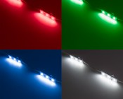 Single Color LED Module - High Power Linear Sign Module w/ 3 SMD LEDs: Shown On In Red, Green, Blue, And Cool White.
