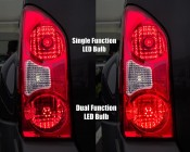 1157 LED Bulb - Dual Function 19 LED Forward Firing Cluster - BAY15D Retrofit: Single Function LED Bulb vs. Dual Function LED Bulb in SUV Tail, Brake, Turn Light. Dual-Function Bulbs Increase in Brightness as Brakes are Engaged