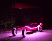 Battery Powered LED Light Strips Kit - Single Color - 2 Portable LED Light Strips: Shown Installed On Radio Flyer Wagon And On In Red, Blue, Green, Magenta, Yellow, And White.