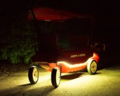 RGB Battery Powered LED Light Strips Kit - Multicolor - 2 Portable LED Light Strips: Installed On Radio Flyer Wagon And On Showing Strips In White, Red, Green, Blue, Yellow, And Magenta.