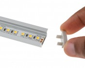 Slim Aluminum Profile Housing with Flange for LED Strip Lights: Showing Endcap Being Attached to Profile