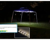 Portable Canopy Tent LED Lighting Kit: Photo Gallery Illustrating How To Install LED Strip Kit On Portable Canopy Tent.