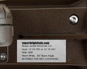 30 Watt Knuckle-Mount LED Flood Light - Bullet Style: Close Up of Label