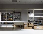 42W Linkable LED Shop Light/Garage Light w/ Pull Chain - 4' Long - 4,500 Lumens: Three Lights Illuminated Over Tables