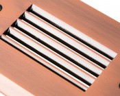 Face Plate for Rectangular LED Step Light - Open Window or Louvered: Close Up View Of Copper Louvered Groves Showing Surface Finish