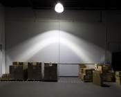 LED Retrofit Kit for 320W MH Fixtures: Shown Installed In High Bay Fixture. Ceiling Height Approximately 20 Feet.
