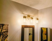 Flexible Filament LED Bulb - T14 Carbon Filament Style Bulb - 25 Watt Equivalent - Spiral Loop - Dimmable: Installed in Bathroom