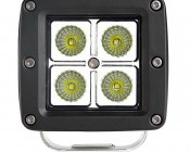 """3"""" Square 12 Watt LED Mini Auxiliary Work Light: Front View"""