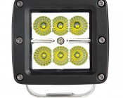 "3"" Square 18 Watt LED Mini Auxiliary Work Light: Front View"