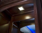 """6"""" Square LED Recessed Light with Decorative Edge Lit Glass Panel Accent Light - 12W: Vanity Mirror in Closet"""