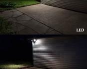 LED Motion Sensor Light - 3 Head Security Light - 30W: Shown Compared To Dual 150 Watt Incandescent Equivalent.