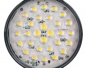 """Warm White Round LED Back-Up Truck and Trailer Light - 4"""" LED Reverse Light w/ 30 LEDs - 3-Pin Connector: Front View"""