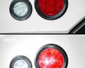 """Round LED Truck and Trailer Lights w/ Reflector - 4"""" LED Brake/Turn/Tail Lights w/ 40 - 3-Pin Connector: Showing Off (top) & Reflector When Light Hits Light (bottom)"""