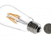 LED Vintage Light Bulb - ST18 Shape - Edison Style Antique Bulb with Filament LED: Back View With Size Comparison