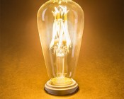 LED Vintage Light Bulb - ST18 Shape - Edison Style Antique Bulb with Filament LED: Turned On