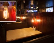 LED Vintage Light Bulb - ST18 Shape - Edison Style Antique Bulb with Filament LED: Installed in Restaurant Booth