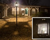 LED Vintage Light Bulb - ST18 Shape - Edison Style Antique Bulb with Filament LED: Installed in Outdoor Light Fixture