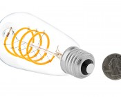 Flexible Filament LED Bulb - ST18 Carbon Filament Style Bulb - Dimmable 15 Watt Equivalent - Spiral Loop - 146 Lumens: Back View