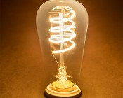 Flexible Filament LED Bulb - ST18 Carbon Filament Style Bulb - Dimmable 15 Watt Equivalent - Spiral Loop - 146 Lumens: Turned On