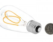 Flexible Filament LED Bulb - ST18 Carbon Filament Style Bulb - Dimmable 15 Watt Equivalent - Heart - 153 Lumens: Back View