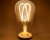 Flexible Filament LED Bulb - ST18 Carbon Filament Style Bulb - Dimmable 15 Watt Equivalent - Heart - 153 Lumens: Turned On