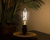 ST26/ST64 LED Filament Bulb - 65 Watt Equivalent LED Vintage Light Bulb - Dimmable - 650 Lumens - Installed in Decorative Fixture
