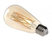 ST26/ST64 LED Filament Bulb - Gold Tint Vintage Light Bulb - 65 Watt Equivalent - Dimmable - 650 Lumens: Back View