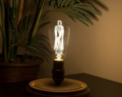 ST26/ST64 LED Filament Bulb - Gold Tint Vintage Light Bulb - 65 Watt Equivalent - Dimmable - 650 Lumens - Installed in Decorative Fixture