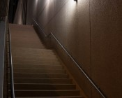 LED Corn Light - 220W Equivalent Incandescent Conversion - E26/E27 Base: Shown Installed In Light Fixtures Over Stairs In Natural White.
