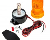"""5-1/4"""" Amber LED Strobe Light Beacon with 10 LEDs: Shown With All Included Parts"""