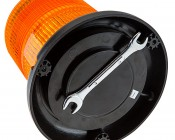"6-3/4"" Amber LED Strobe Light Beacon with 15 LEDs - Magnetic Base"