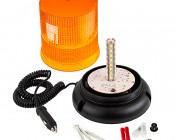 """6-3/4"""" Amber LED Strobe Light Beacon with 15 LEDs - Magnetic Base: Open View Showing Leds"""