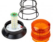 """4-3/4"""" Amber LED Strobe Light Caged Beacon with 60 LEDs: Lift Cage & Twist Lens To Access LEDs & Mode Switch"""